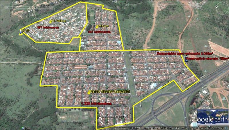Foto aérea dos bairros Gasparini, Vanuire, Jd. Helena